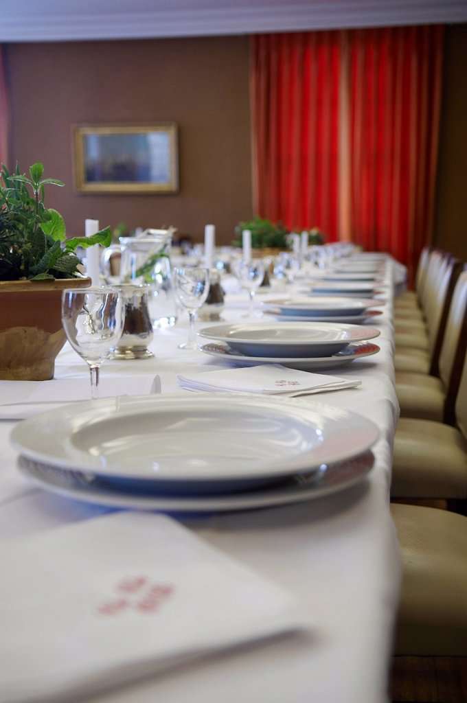 Set table at a fine dining restaurant : Stock Photo
