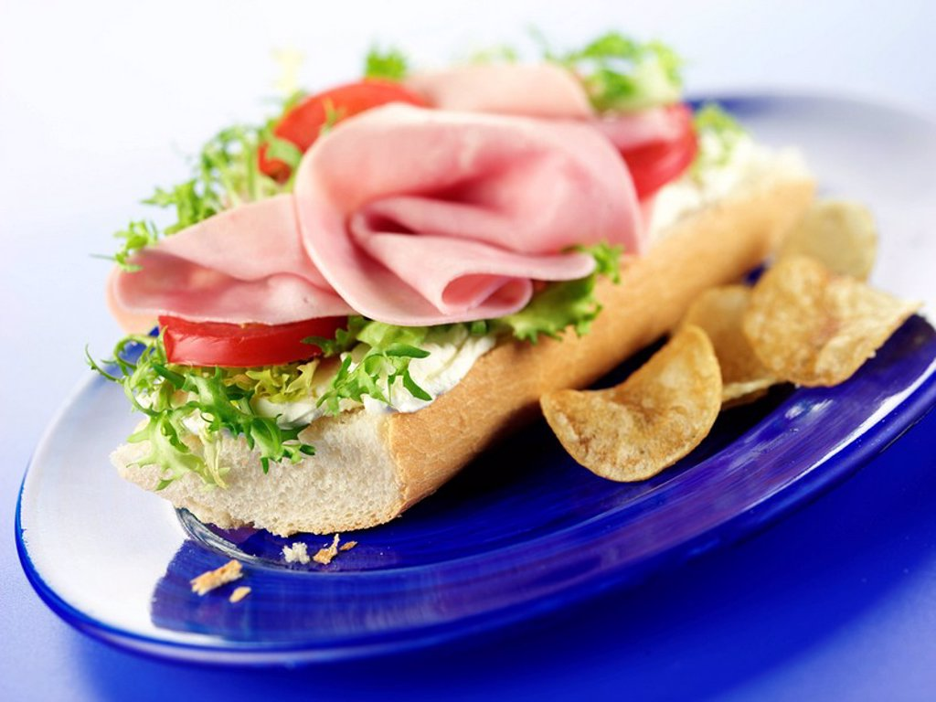 HAM BAGUETTE : Stock Photo