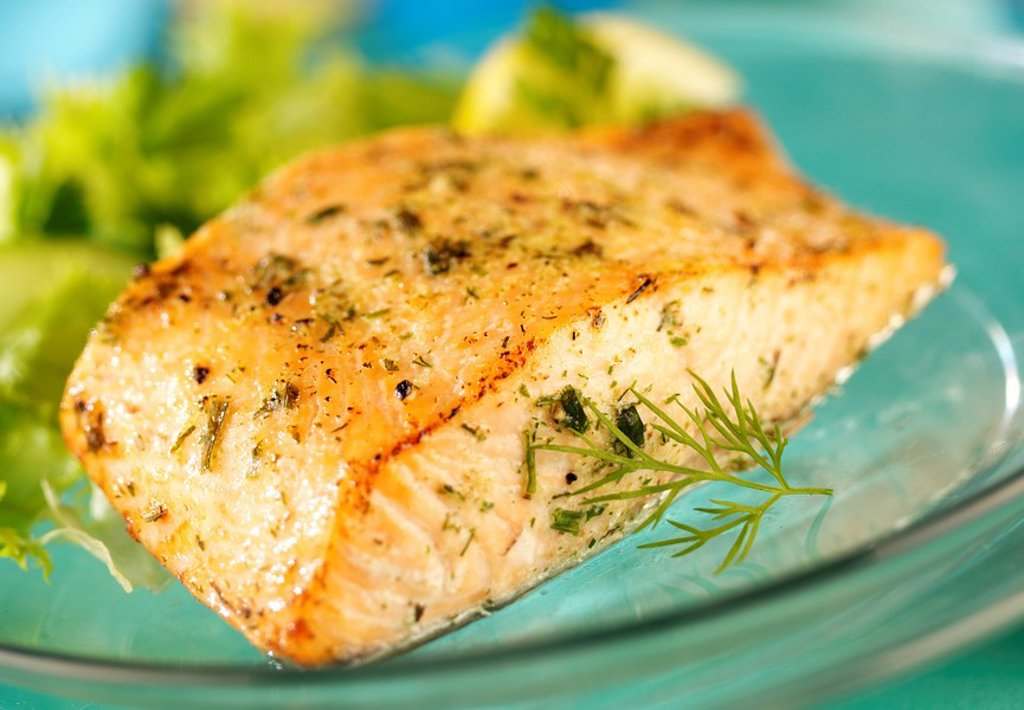 GRILLED SALMON FILLET : Stock Photo