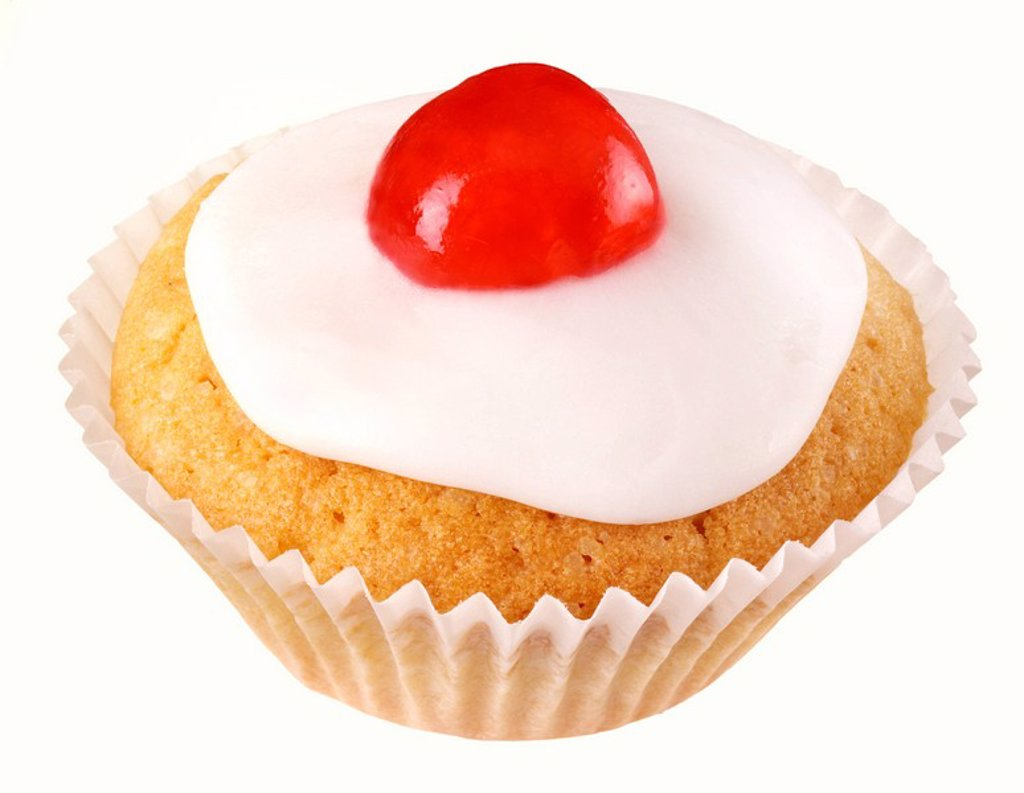 Stock Photo: 1898-6434 SINGLE CUTOUT CHERRY CUPCAKE