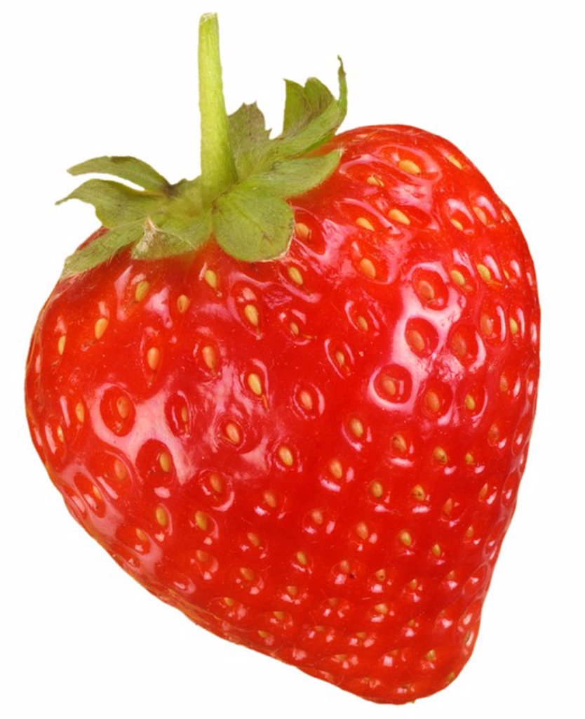 SINGLE STRAWBERRY ON WHITE : Stock Photo