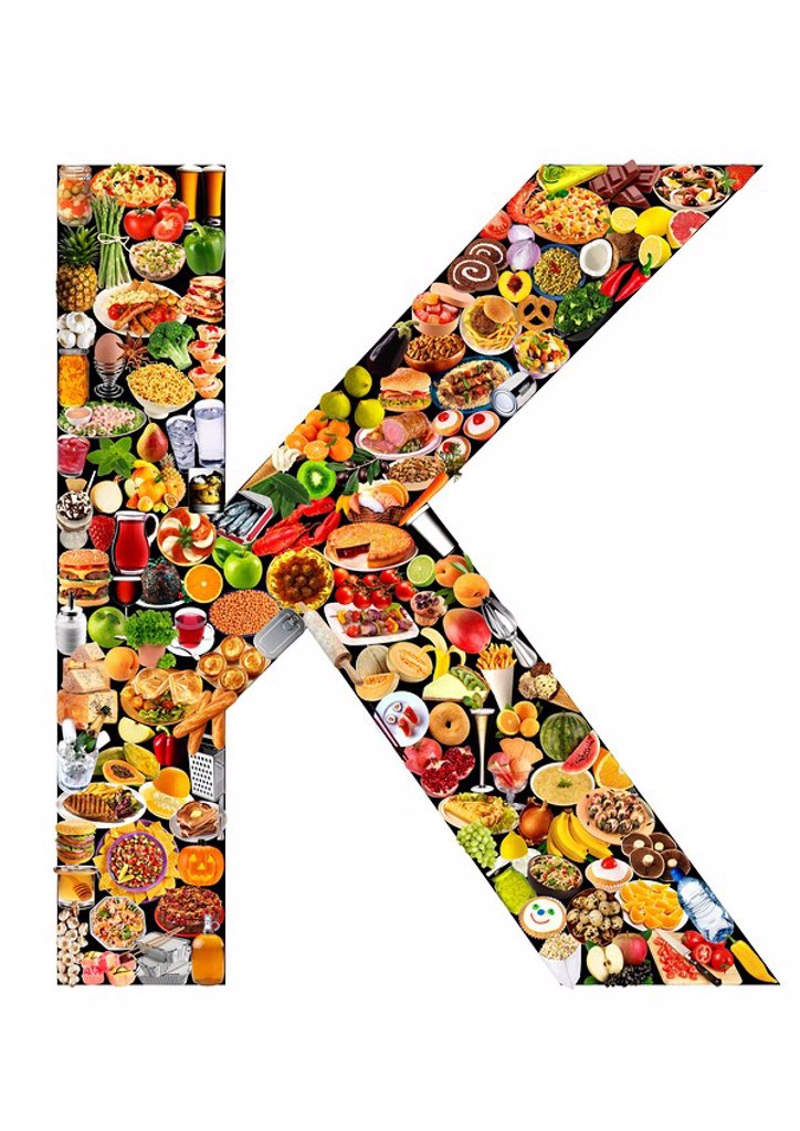 FOODFONT LETTER K ON BLACK AND WHITE : Stock Photo