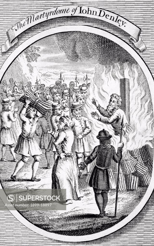 Stock Photo: 1899-18897 The martyrdom of John Denley at Uxbridge in 1555 from The Burning of the Martyrs 1741