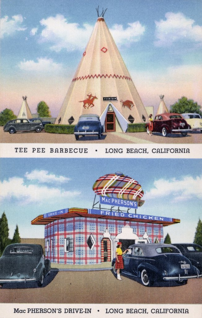 Postcard of Drive-in Restaurants. ca. 1940, TEEPEE BARBECUE. 5251 East Second Street. MacPHERSON'S DRIVE-IN. 901 East Broadway. Two fine and convenient drive-ins-both in LONG BEACH, CALIFORNIA. Architecture worth seeing-real barbecued Sandwiches and fountain drinks-worth remembering.  : Stock Photo