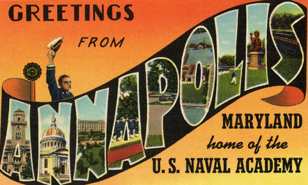 Greeting Card from Annapolis, Maryland. ca. 1940, Annapolis, Maryland, USA, GREETINGS FROM ANNAPOLIS. Gerge Bancroft, the historian, who in 1845 while Secretary of the Navy, selected Annapolis, Maryland as the location of the U.S. Naval Academy because of its ideal setting with the Severn River and Chesapeake Bay.  : Stock Photo