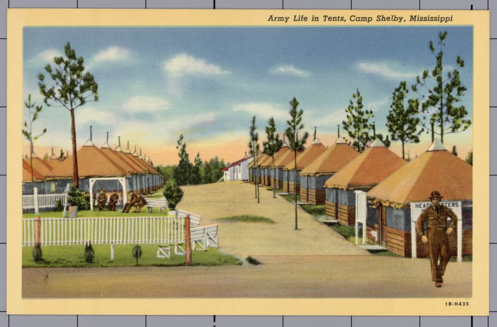 Tents at Camp Shelby. ca. 1941, Mississippi, USA, Army Life in Tents, Camp Shelby, Mississippi. Is named for a famed leader of men of Colonial Days, Colonel Isaac Shelby. Created during the World War days, the camp was named in honor of a fighter who earned a niche in history's hall by performing valiantly in the Revolutionary War. Camp Shelby is the second largest training camp. Built to accommodate 55,000 men.  : Stock Photo