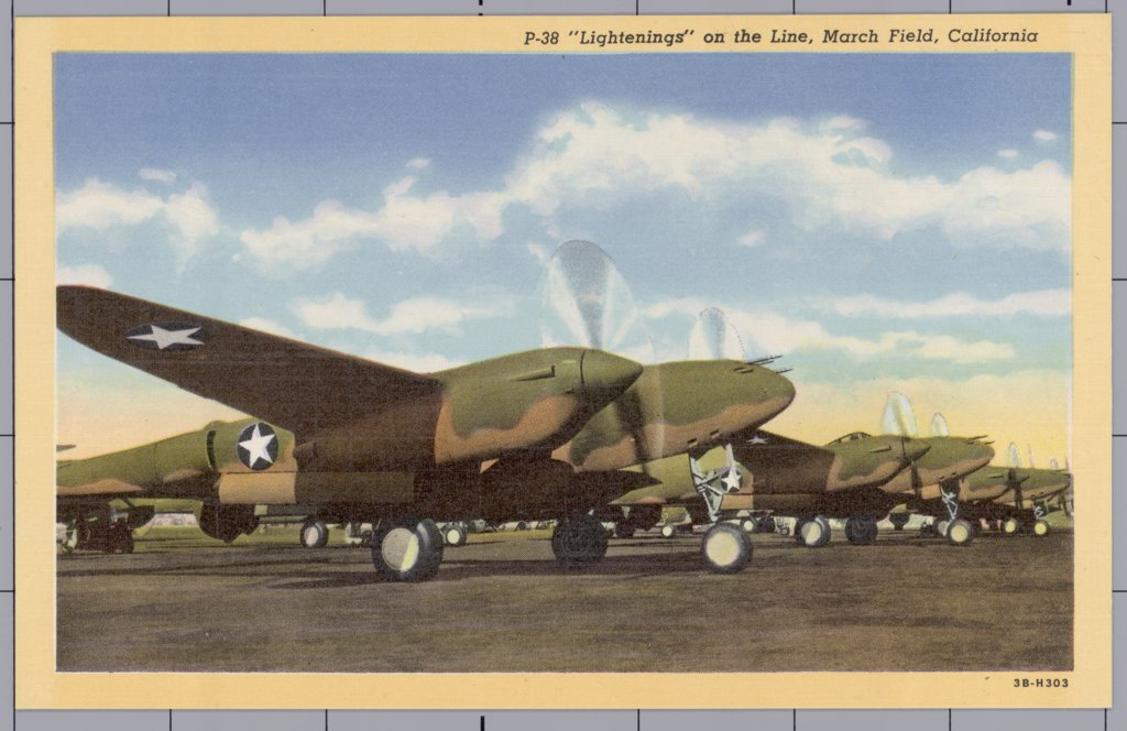 Stock Photo: 1899-10309 P-38 Lightning Fighters at March Field. ca. 1943, California, USA, P-38 'Lightenings' on the Line, March Field, California