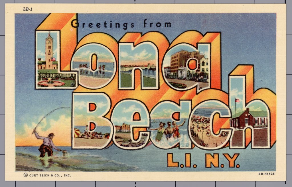 Greeting Card from Long Beach, New York. ca. 1943, Long Beach, New York, USA, LONG BEACH, LONG ISLAND. Facing South on the Atlantic Ocean, directly in the path of the Southwesterly ocean breezes, this clean and beautiful resort city is set away from inland heat. Just 45 minutes from Broadway, 'The City By The Sea' offers ocean and still water bathing, golf, tennis, softball, sailing, and motorboating with frequent regattas, bay and deep sea fishing, and its famous boardwalk bordering the ocean b : Stock Photo