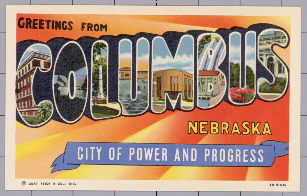 Greeting Card from Columbus, Nebraska. ca. 1946, Columbus, Nebraska, USA, Greeting Card from Columbus, Nebraska  : Stock Photo