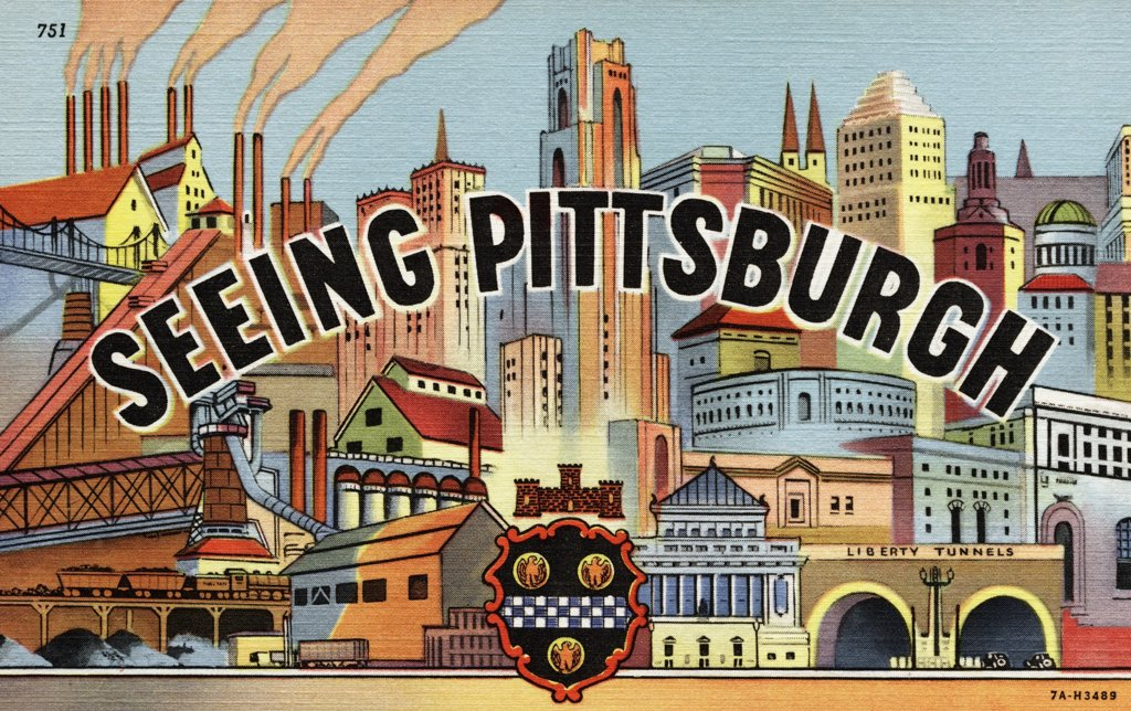 Greeting Card from Pittsburgh, Pennsylvania. ca. 1937, Pittsburgh, Pennsylvania, USA, Pittsburgh is the heart of a great industrial area, a center of production which has served the nation well in the past and which today is providing in great volume its present needs.  : Stock Photo