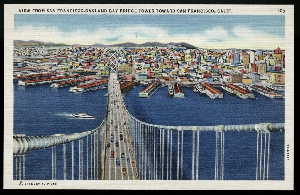 Stock Photo: 1899-10615 San Francisco-Oakland Bay Bridge. ca. 1937, San Francisco, California, USA, VIEW FROM SAN FRANCISCO-OAKLAND BAY BRIDGE TOWER TOWARD SAN FRANCISCO, CALIF. The length of the longest span is 2310 feet, and the highest tower is 519 above the water of the Bay. Total length of Bridge is 8 1/2 miles, 4 1/2 miles of this is over water. The total length of the suspender ropes is 43 miles, and the total length of the wire used in the cables, is 70,815 miles.