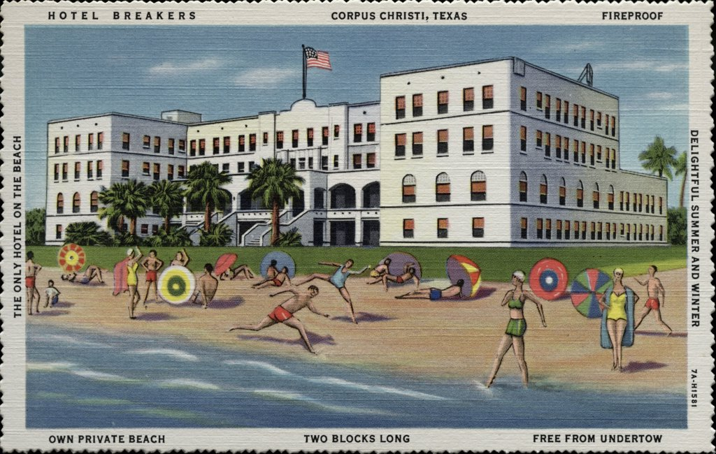 Guests of Hotel Breakers on the Beach. ca. 1937, Corpus Christi, Texas, USA, HOTEL BREAKERS. CORPUS CHRISTI, TEXAS. FIREPROOF. DELIGHTFUL SUMMER AND WINTER. OWN PRIVATE BEACH. TWO BLOCKS LONG. FREE FROM UNDERTOW. THE ONLY HOTEL ON THE BEACH. HOTEL BREAKERS, On the Beach -- Corpus Christi, Texas. Popular Prices -- Special Weekly Rates. All Outside Rooms. Ballroom -- Coffee Shop -- Bathers Lounge.  : Stock Photo