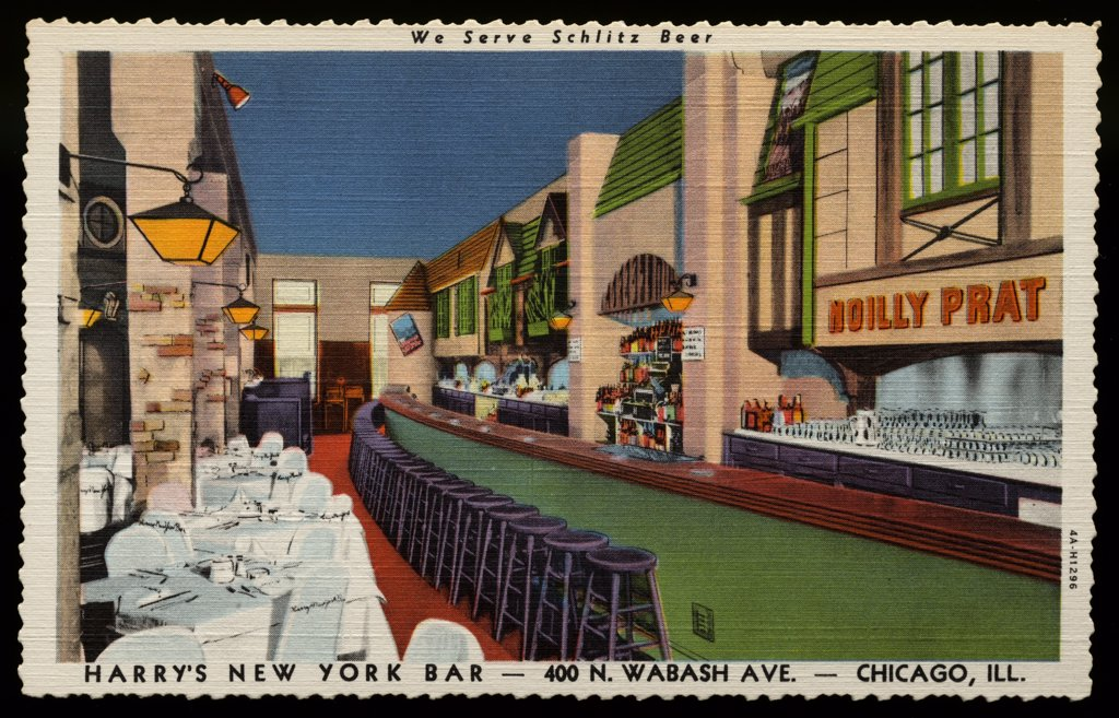 Harry's New York Bar. ca. 1934, Chicago, Illinois, USA, We Serve Schlitz Beer, HARRY'S NEW YORK BAR-400 N. WABASH AVE.-CHICAGO, ILL. DINE, DANCING AND ENTERTAINMENT AFTERNOON AND EVENING, NO COVER CHARGE, NEVER CLOSED, PRIVATE BANQUET ROOM SEATING 350  : Stock Photo