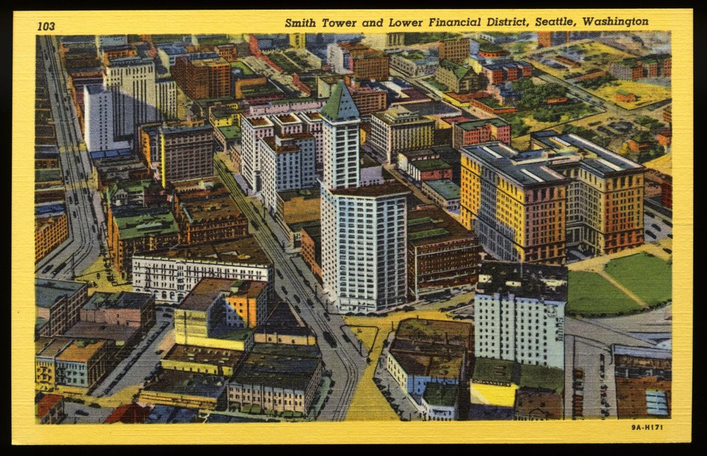 Stock Photo: 1899-10841 Lower Financial District of Seattle. ca. 1939, Seattle, Washington, USA, Smith Tower and Lower Financial District, Seattle, Washington.