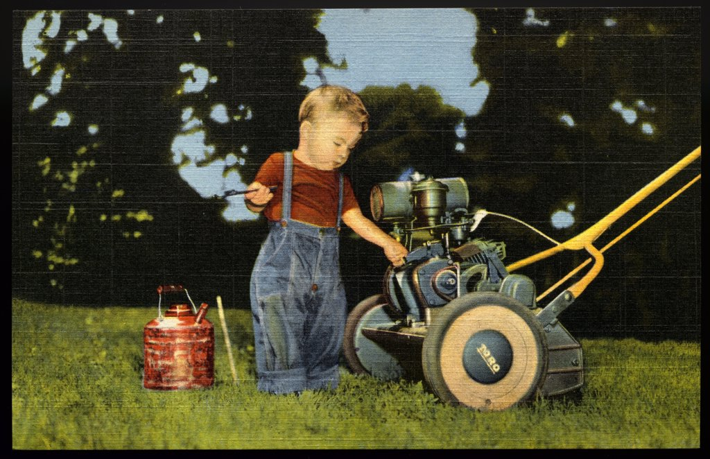 Child Tinkering with a Lawn Mower. ca. 1949, USA, This Little Fellow?Really doesn't have to worry about service. His daddy's Toro Power Mower is easy to keep running right because of its simple easy-to-understand construction. And to keep customers like his daddy extra happy, we back our dealers with NEAR-BY repair parts, quick service, expert repair jobs? and a complete line of quality hand and power mowers. Built right Priced right Serviced right Compare Toro mowers?we think you'll agree they' : Stock Photo