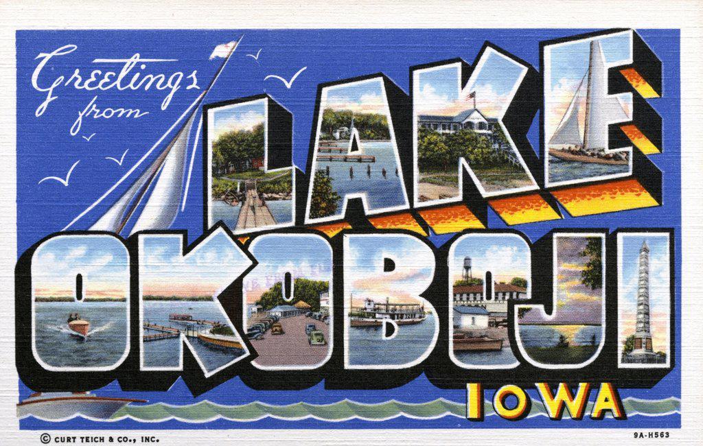 Stock Photo: 1899-10897 Greeting Card from Lake Okoboji. ca. 1939, Okoboji, Iowa, USA, L-Dixon Point: A-Des Moines Beach: K-The Inn: E-Sailing on Lake Okoboji: O-Speed Boat: K-The State Pier: O-Lake Front Midway: B-The Queen: O-Iowa's Playground, Arnold's Park: J-Sunset on Lake Okoboji: I-Monument of Indian Massacre of 1857.