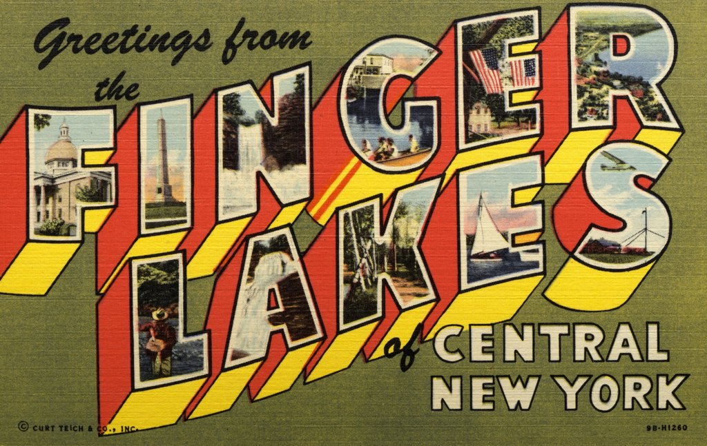 Greeting Card from Finger Lakes. ca. 1949, New York, USA, One of the great vacation and tourist centers of America is the Finger Lakes Region of Central New York. It was the Garden of Eden of the Red Men. F-Historical Canandaigua Court House: I-General John Sullivan's Monument, near Waverly: N-Taughannock Falls, near Ithaca: G-Skaneateles Lake: E-The Historical Scythe Tree: R-Geneva Harbor, Seneca Lake: L-Famous Catharine Creek Trout Stream: A-Lucifer Falls, Robert Treman State Park, near Ithaca : Stock Photo