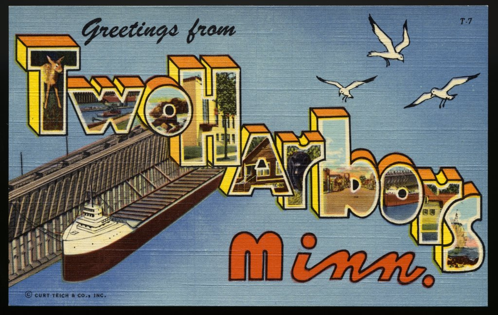 Stock Photo: 1899-10950 Greeting Card from Two Harbors, Minnesota. ca. 1949, Two Harbors, Minnesota, USA, Two Harbors, Minn. is situated on Agate and Burlington Bays and has been an important loading point for iron ore since the year, 1884. Besides viewing the loading of huge boats from a park opposite the docks, visitors may enjoy superb scenery right in Two Harbors and vicinity. Their golf course has a beautiful natural setting overlooking Lake Superior. Commercial fishing villages along the shore are picturesque and