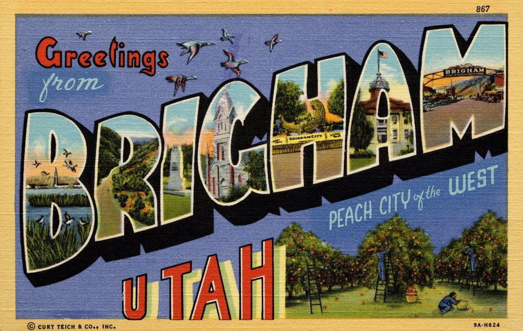 Greeting Card from Brigham, Utah. ca. 1939, Brigham, Utah, USA, Brigham, fifth largest city in Utah, is nestled in the foothills of the vast Rocky Mountain range. Because of the city's beauty, the unusual luscious peaches and the beautiful girls, Brigham is known as the 'Peach City of the West.' Brigham is the gateway to the largest manmade migratory bird refuge in the world and is visited by thousands of tourists annually.  : Stock Photo