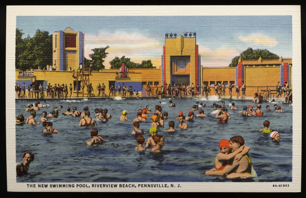 Swimming Pool at Riverview Beach. ca. 1936, Pennsville, New Jersey, USA, THE NEW SWIMMING POOL, RIVERVIEW BEACH, PENNSVILLE, N.J. Pool 75x150 feet with 60,000 gallons of purified water per hour. Spacious clean, white sand beaches, handball courts, modern lockers, hot and cold showers. Everything for the comfort of the patrons. Brilliantly lighted at night. Guards constantly on duty. The pool and equipment has no equal in this part of the country.  : Stock Photo