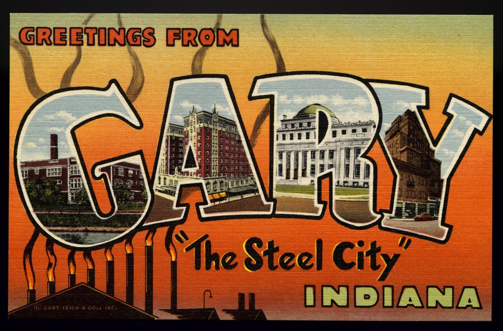 Greeting Card from Indiana. ca. 1945, Gary, Indiana, USA, G-Horace Mann High School. A-Gary Hotel. R-City Hall. Y-Knights of Columbus Club Hotel.  : Stock Photo