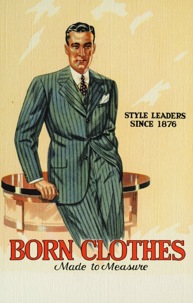 Tailored Suit by M.Born & Co.. ca. 1939, Announcing Our Advance Showing of Fashions and Fabrics for Fall and Winter - to be - TAILORED TO MEASURE by M. BORN & CO. All New Weaves - New Shades. Such a Wide Selection, too. Drop In Real Soon and See What is New in Woolens.  : Stock Photo