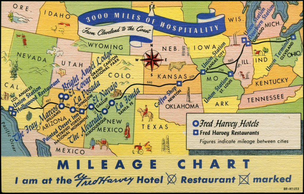 US Mileage Chart Map with Hotels and Restaurants. ca. 1948, USA, Fred Harvey Hotels - Shops - Restaurants. From the shores of the Great Lakes to the orange groves of California, the transcontinental highways traverse regions rich in scenic interest. New Mexico with its mesas and pueblos, its ancient cliff-dwellings and old Spanish missions ... Arizona with its Grand Canyon, Painted Desert, petrified Forest and colorful Indian Country. Along the way Fred Harvey Hotels and Restaurants provide conv : Stock Photo