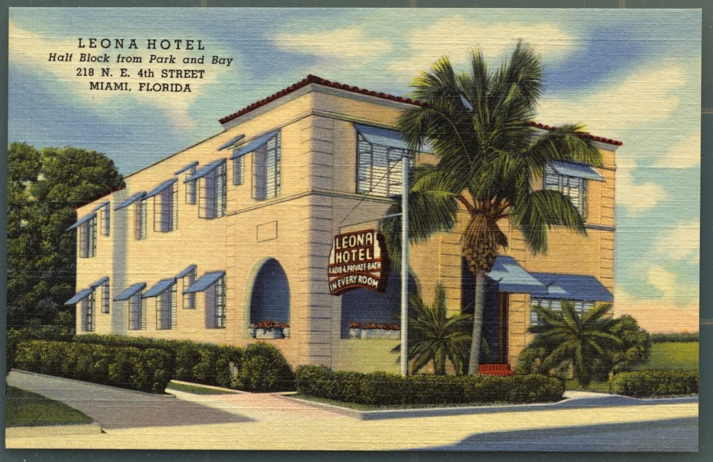 Stock Photo: 1899-11314 Leona Hotel. ca. 1949, Miami, Florida, USA, LEONA HOTEL Half Block from Park and Bay 218 N.E. 4th Street MIAMI, FLORIDA.  New - Modern - Downtown Location - Most Convenient to Beaches, Churches, Theatres and Shops - Luxuriously Furnished Rooms, each with Private Bath and Radio - Beautiful Lobby - Large Porch - Parking Facilities - HAVES MANAGEMENT.