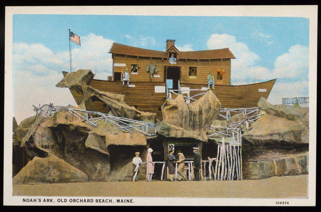 Noah's Ark on Beach Shore. ca. 1925, Maine, USA, NOAH'S ARK, OLD ORCHARD BEACH, MAINE.  : Stock Photo