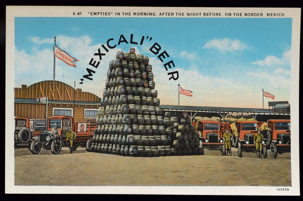 Mexicali Beer at the Border. ca. 1928, Border of Mexico and USA, 'EMPTIES' IN THE MORNING, AFTER THE NIGHT BEFORE, ON THE BORDER, MEXICO  : Stock Photo