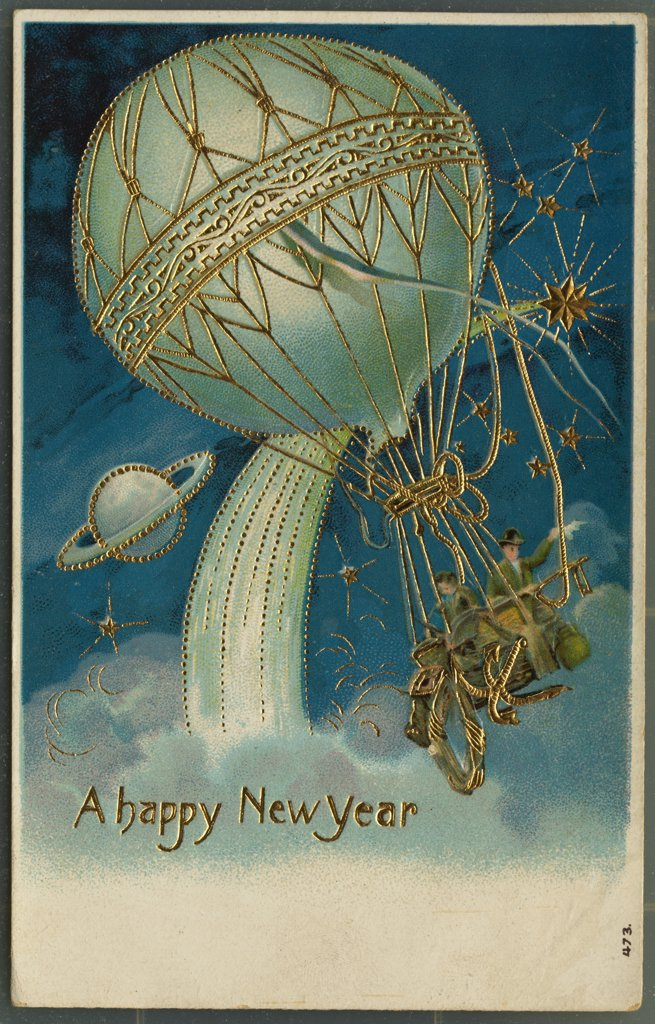 Postcard of Hot Air Balloon in Space. ca. 1911, A happy New Year  : Stock Photo