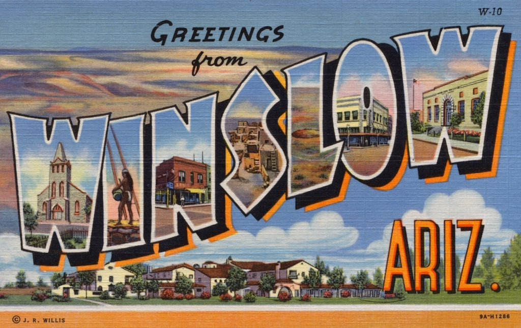 Postcard of Winslow, Arizona. ca. 1939, GREETINGS from WINSLOW, ARIZ. Winslow, Arizona, was the terminus of the present Santa Fe Ry. more than 50 years ago as the line pressed westward. It is still an important division point as well as having a landing field for transcontinental planes, and is a busy modern little city. Winslow is a gateway to the Navajo Reservation and the Hopi villages which are easily reached from here.  : Stock Photo