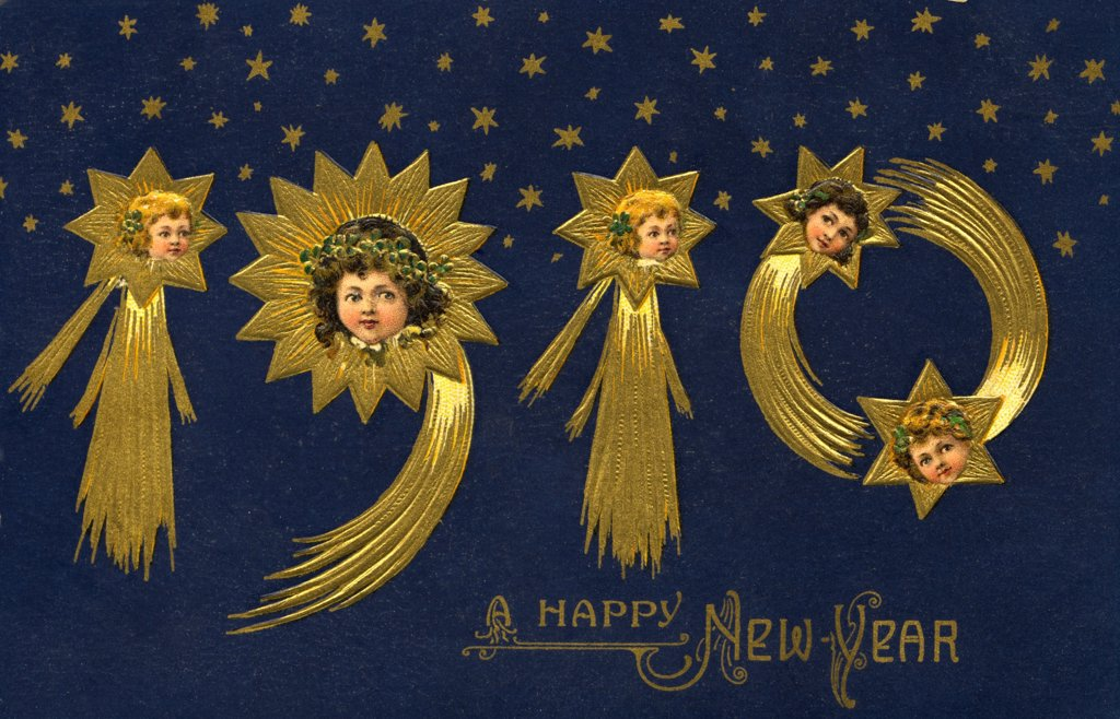 Stock Photo: 1899-11451 Postcard of 1910 New Year's Greeting. ca. 1909, 1910 A HAPPY NEW YEAR