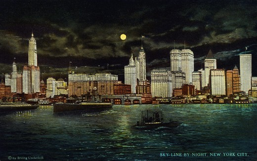 Stock Photo: 1899-11494 Postcard of New York City Skyline at Night. ca. 1916, SKY-LINE BY NIGHT, NEW YORK CITY. Showing skyline of Manhattan from Jersey City. Manhattan Island 19, 65 square miles, was purchased in 1626 from Indians for about $24,00, land value now $4,020,000,000, total realty value with improvements, is $6,075,000,000, an average of $432,000, per acre. The Island has 2,331,542 inhabitants, the lower end has an office population of 400,000 land there is worth from $200 to $600 per square foot and office