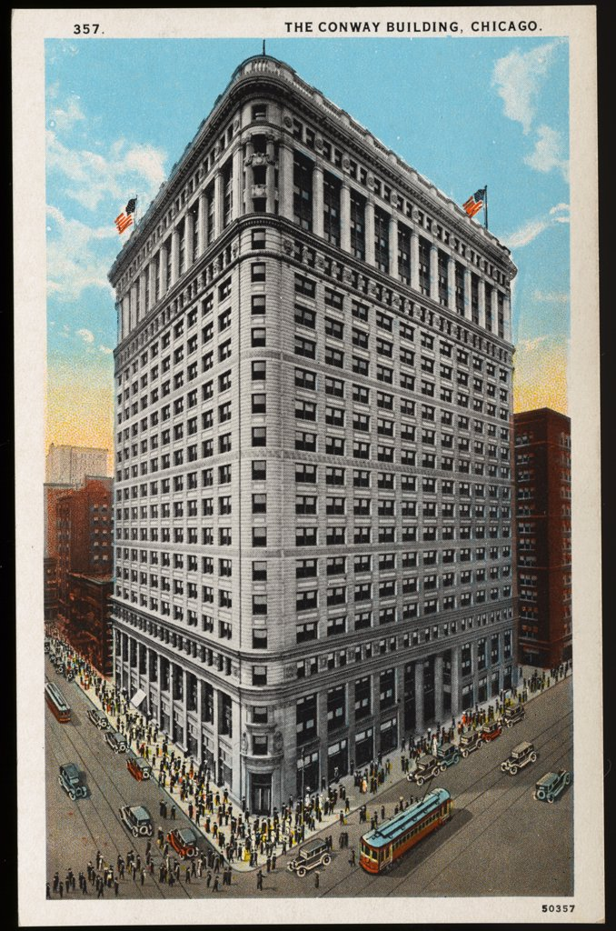 Stock Photo: 1899-11497 Postcard of Conway Building in Chicago. ca. 1914, 357. THE CONWAY BUILDING, CHICAGO. The Conway Building, located on the southwest corner of Clark and Washington Sts., is a massive office building, 21 stories high. It is a steel structure resting on concrete caissons which are sunk 100 feet to bedrock, the outside facing being granite terra cotta and enameled brick. Sixteen electric passenger elevators of the latest type provide fast and efficient service to the upper floors.