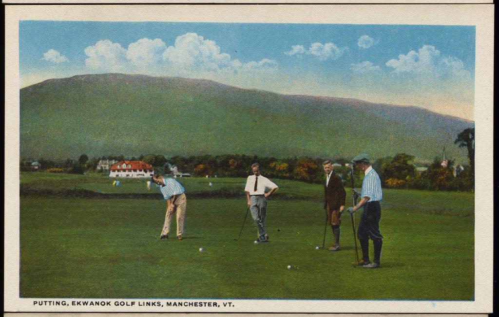 Stock Photo: 1899-11533 Postcard of Golfers at Ekwanok Golf Links. ca. 1919, PUTTING, EKWANOK GOLF LINKS, MANCHESTER, VT.