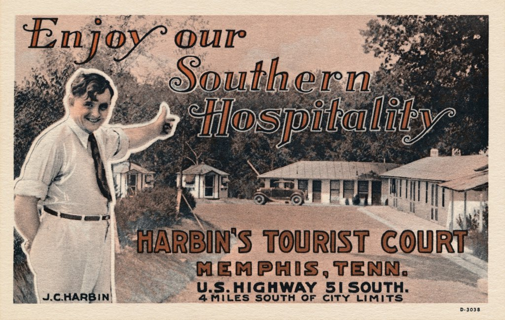 Stock Photo: 1899-11639 Postcard of Harbin's Tourist Court. ca. 1933, Enjoy our Southern Hospitality Harbis's Tourist Court Memphis, Tenn. U.S. Highway 51 South. 4 miles south of city limits J.C. Harbin