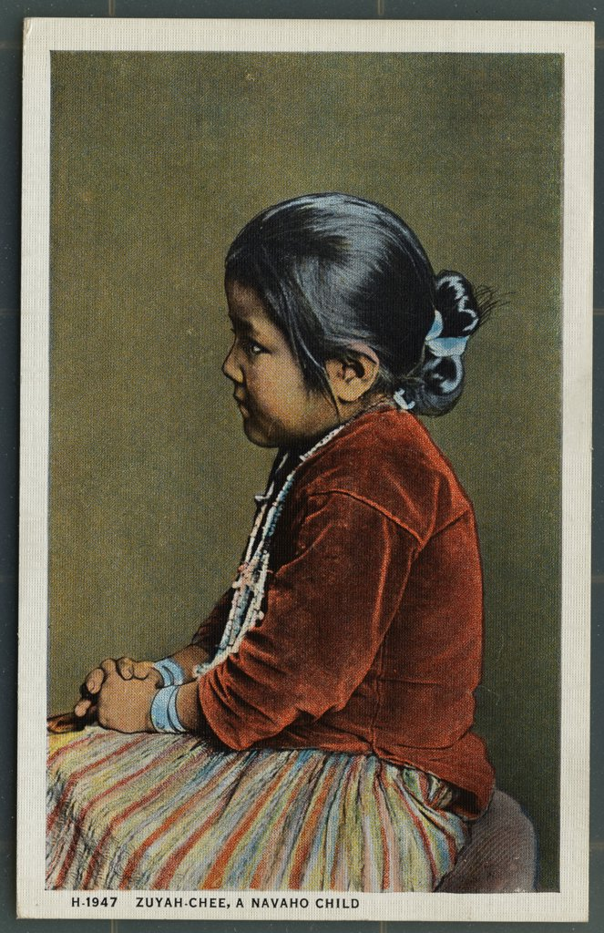 Postcard of Zuyah-Chee, A Navaho Child. ca. 1923, Zuyah-Chee, A Navaho Child The Navaho child is seldom punished for the simple reason that he seldom requires it. There appears to be a bond of sympathy and love between parent and child which is very strong during the minority of the child: but strange to say, the children do not always love and protect their parents when the latter become old and infirm. H-1947  : Stock Photo