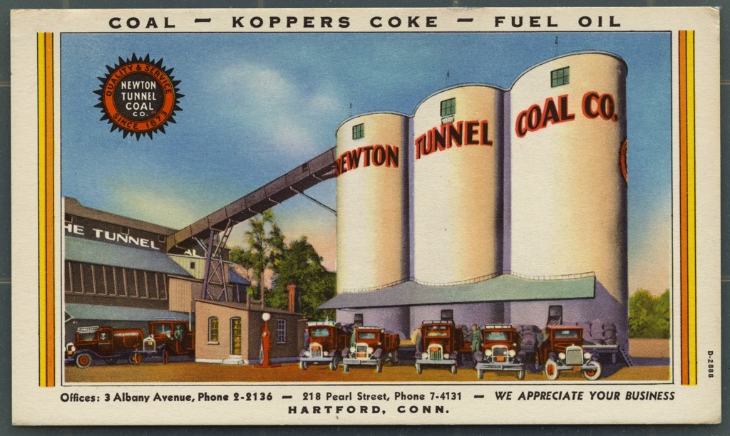 Postcard of Newton Tunnel Coal Company Silo. ca. 1932, Coal - Koppers Coke - Fuel Oil Quality & Service Since 1873 Newton Tunnel Coal Co. Offices:3 Albany Avenue, Phone 2-2136 - 218 Pearl Street, Phone 7-4131 - We Appreciate Your Business Hatford, Conn.  : Stock Photo