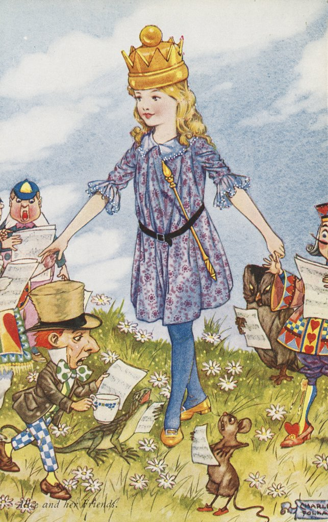 Alice and Her Friends Postcard by Charles Folkard, Based on Alice in Wonderland by Lewis Carroll. ca. 1900-1920, Alice and Her Friends Postcard by Charles Folkard, Based on Alice in Wonderland by Lewis Carroll  : Stock Photo