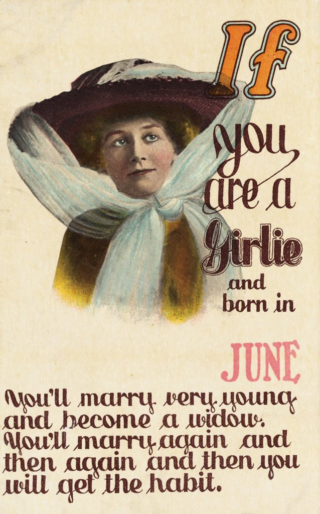If You Are a Girlie and Born in June Postcard. ca. 1900, If You Are a Girlie and Born in June Postcard  : Stock Photo