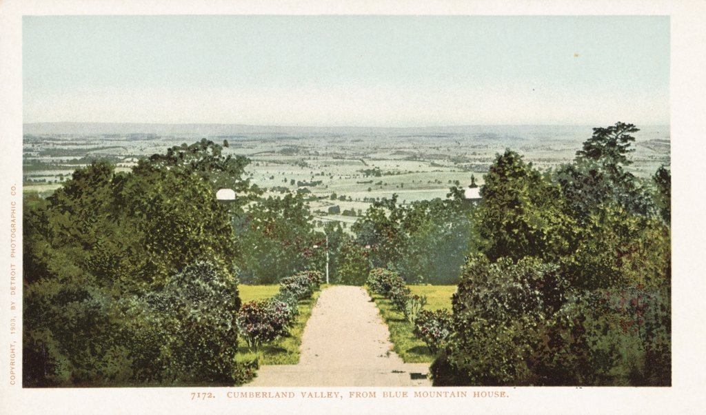 Cumberland Valley, from Blue Mountain House Postcard. 1903, Cumberland Valley, from Blue Mountain House Postcard  : Stock Photo