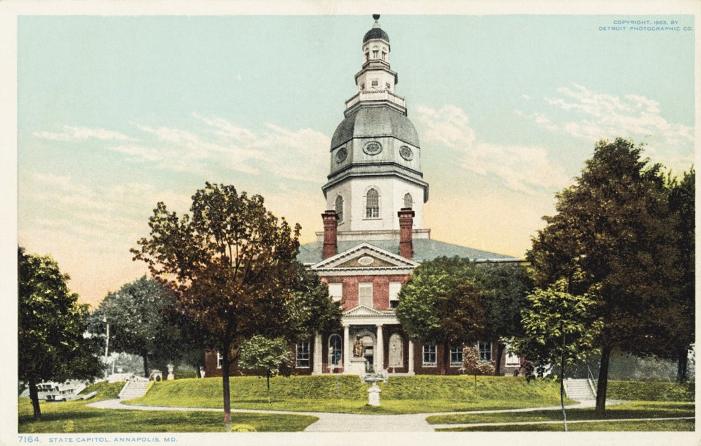 Stock Photo: 1899-11863 State Capitol, Annapolis, MD Postcard. 1903, State Capitol, Annapolis, MD Postcard