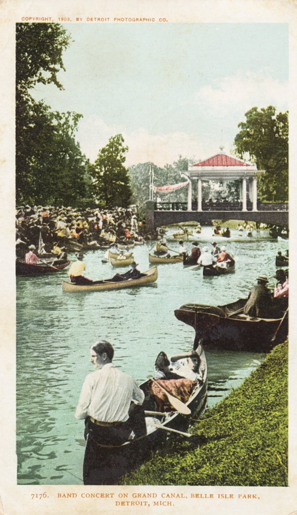Stock Photo: 1899-11867 Band Concert on Grand Canal, Belle Isle Park, Detroit, Mich Postcard. 1903, Band Concert on Grand Canal, Belle Isle Park, Detroit, Mich Postcard