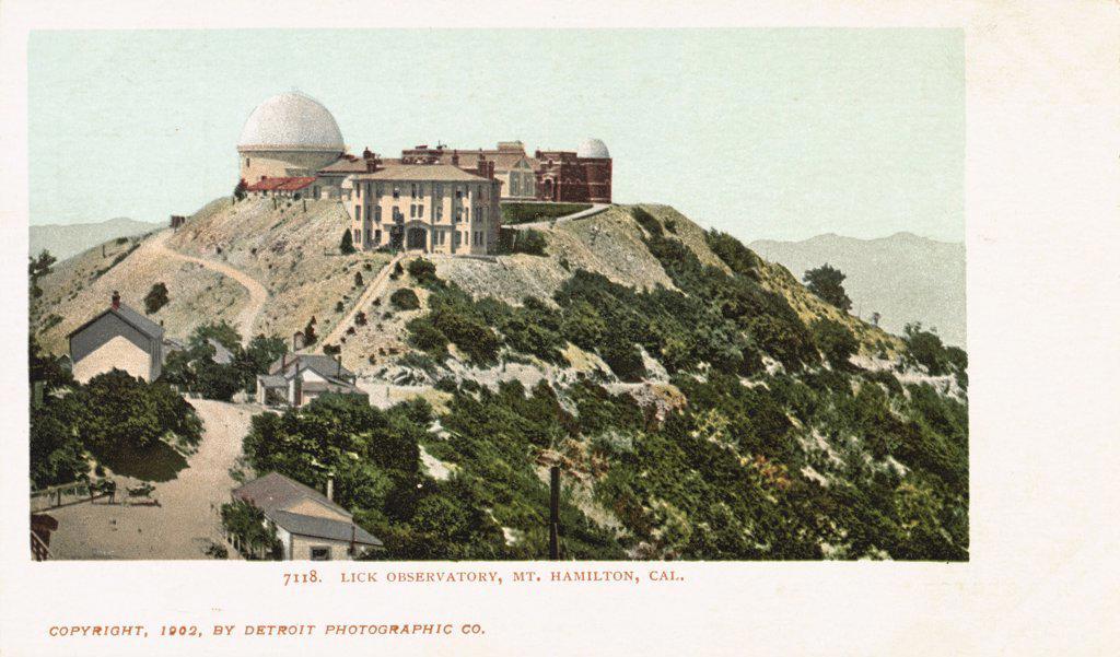 Lick Observatory, Mt. Hamilton, Cal. Postcard. 1902, Lick Observatory, Mt. Hamilton, Cal. Postcard  : Stock Photo