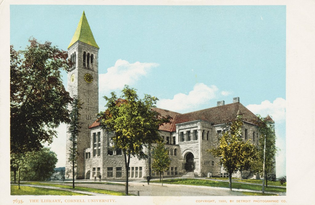 The Library, Cornell University Postcard. ca. 1900, The Library, Cornell University Postcard  : Stock Photo