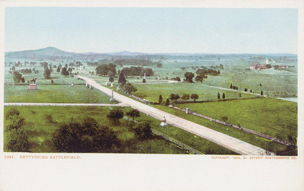 Stock Photo: 1899-11962 Gettysburg Battlefield Postcard. 1903, Gettysburg Battlefield Postcard