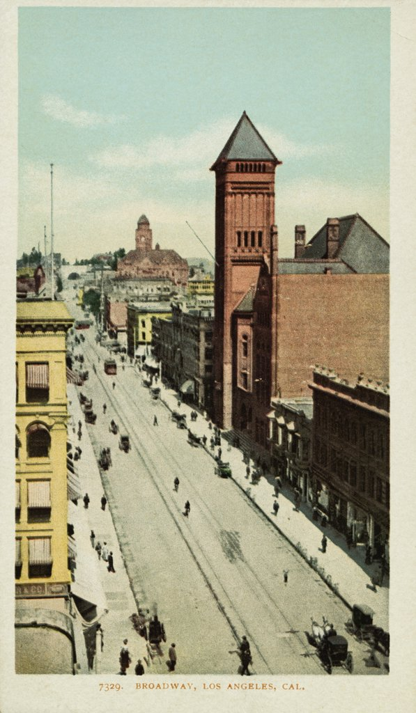 Broadway, Los Angeles, Cal. Postcard. ca. 1900, Broadway, Los Angeles, Cal. Postcard  : Stock Photo
