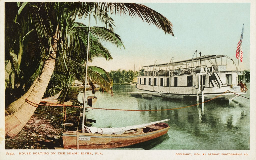 Stock Photo: 1899-12021 House Boating on the Miami River, Fla. Postcard. 1904, House Boating on the Miami River, Fla. Postcard