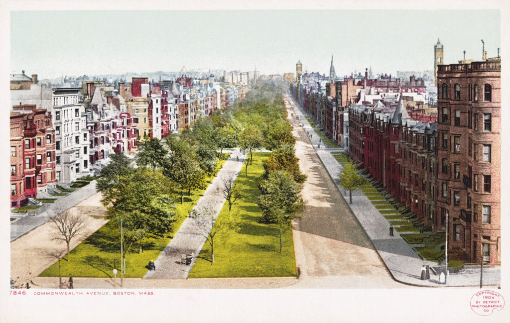 Commonwealth Avenue, Boston Postcard. 1904, Commonwealth Avenue, Boston Postcard  : Stock Photo